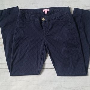 Lilly Pulitzer Navy Patterned Pants Size 4